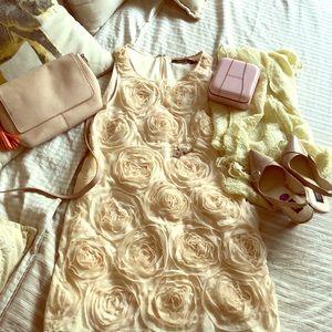 Ark & Co cream rose dress M